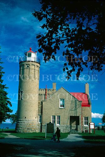 Old Mackinac Point Lighthouse, Mackinaw City, Michigan, Lake Huron.
