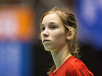 Rotterdam,Netherlands, December 15, 2015,  Topsport Centrum, Lotto NK Tennis, Ballgirl Anouk Koevermans (NED)<br /> Photo: Tennisimages/Henk Koster