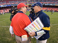 California head coach Jeff Tedford shakes hands with Fresno State head coach Pat Hill after the game at Candlestick Park in San Francisco, California on September 3rd, 2011.  California defeated Fresno State, 36-21.