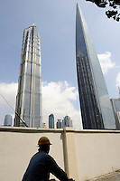 Shanghai World Financial Center and Jinmao Tower in Pudong, Shanghai, China..