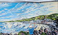 BNPS.co.uk (01202 558833)<br /> Pic ZacharyCulpin/BNPS<br /> <br /> Stunning billboard painting -  An artist is putting the finishing touches to a spectacular coastal painting for the new Jane Austen TV drama - using a huge advertising billboard.<br /> <br /> David Downes was commissioned by ITV to create the stunning landscape painting for 'Sanditon' which started last Sunday.<br /> <br /> However, rather than opting for a traditional poster, the artist was asked to produce the magnificent painting by hand.