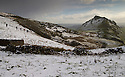 08/12/14<br /> <br /> Hikers walk towards snow lying on Chrome Hill, in the Derbyshire Peak District, overlooking the Manifold Valley below.<br /> <br /> ***ANY UK EDITORIAL PRINT USE WILL ATTRACT A MINIMUM FEE OF £130. THIS IS STRICTLY A MINIMUM. USUAL SPACE-RATES WILL APPLY TO IMAGES THAT WOULD NORMALLY ATTRACT A HIGHER FEE . PRICE FOR WEB USE WILL BE NEGOTIATED SEPARATELY***<br /> <br /> <br /> All Rights Reserved - F Stop Press. www.fstoppress.com. Tel: +44 (0)1335 300098