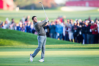 Rory McIlroy (Team Europe) on the 1st fairway during the Saturday morning Foursomes at the Ryder Cup, Hazeltine national Golf Club, Chaska, Minnesota, USA.  01/10/2016<br /> Picture: Golffile | Fran Caffrey<br /> <br /> <br /> All photo usage must carry mandatory copyright credit (&copy; Golffile | Fran Caffrey)