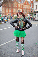 17/3/2011. ST PATRICKS DAY DUBLIN. Niamh Curtin is pictured at Christ Church enjoying the Dublin St Patricks Day Parade. Picture James Horan/Collins Photos