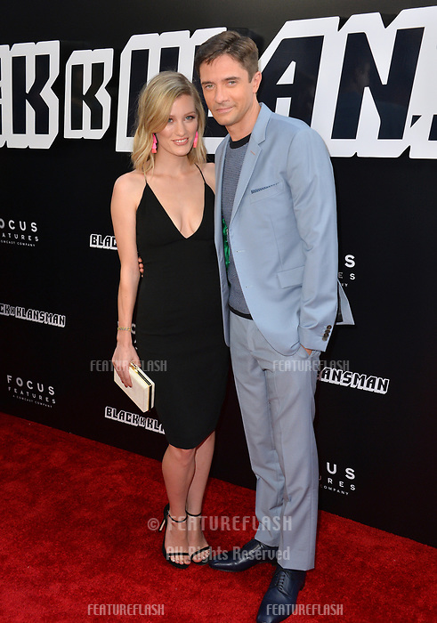 "Topher Grace & Ashley Hinshaw at the Los Angeles premiere of ""BlacKkKlansman"" at the Academy's Samuel Goldwyn Theatre, Beverly Hills, USA 08 Aug. 2018<br /> Picture: Paul Smith/Featureflash/SilverHub 0208 004 5359 sales@silverhubmedia.com"