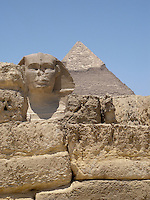 Sphinx in line with the Giza Pyramid, Giza, Egypt