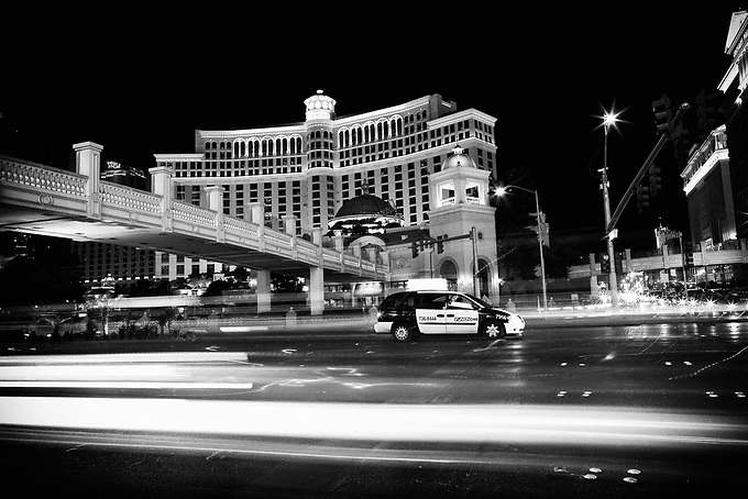 The busy streets of Las Vegas at night.