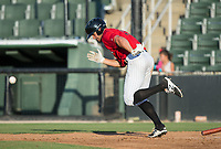 Aaron Schnurbusch (21) of the Kannapolis Intimidators starts down the first base line after laying down a bunt against the Delmarva Shorebirds at Kannapolis Intimidators Stadium on July 2, 2017 in Kannapolis, North Carolina.  The Shorebirds defeated the Intimidators 5-4.  (Brian Westerholt/Four Seam Images)