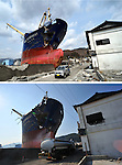 September 9, 2011, Kamaishi, Japan -  A lone man walks by the looming bow of Asia Symphony, a Panamanian ocean going vessel being left aground on the wharf in the port of Kamaishi , Iwate Prefecture, on April 1, 2011, top. The ship, washed ashore by tsunami on March 11, is till there six months after the earthquake hit this port city some 450km northeast of Tokyo, on Friday, September 9. Japan marks six months anniversary on September 11 of an earthquake and tsunami that have ravaged 130 kilometers along the Pacific coast in the country's northeastern region, leaving nearly 20,000 dead or missing. Six months after the nation's worst ever disaster. which also sparked a nuclear crisis, still more than 20,000 people are forced to dwell in temporary shelters and housings throughout the area. (Photo by Natsuki Sakai/AFLO) [3615] -mis-
