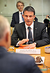 French Prime Minister Manuel Valls speaks during a meeting with Australian Prime Minister Malcolm Turnbull at Parliament House, Canberra on May 2, 2016. AFP PHOTO / MARK GRAHAM