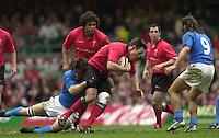 27/03/2004  -  RBS Six Nations Championship 2004 Wales v iItaly.Wales Mark Taylor attacking.   [Mandatory Credit, Peter Spurier/ Intersport Images].   [Mandatory Credit, Peter Spurier/ Intersport Images].