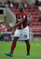 Aaron Pierre of Northampton Town during the Sky Bet League 1 match between Northampton Town and Fleetwood Town at Sixfields Stadium, Northampton, England on 12 August 2017. Photo by Alan  Stanford / PRiME Media Images.