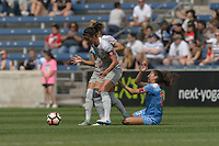 Bridgeview, IL - Saturday May 27, 2017: Abby Erceg, Christen Press during a regular season National Women's Soccer League (NWSL) match between the Chicago Red Stars and the North Carolina Courage at Toyota Park. The Red Stars won 3-2.