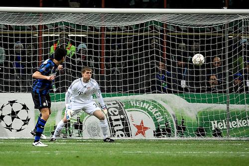 23 02 2011   Andrea Ranocchia Inter Milan scores Stadio Giuseppe Meazza San Siro Calcio Champions League Inter vs Bayern  Munich