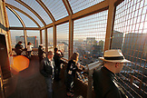 USA, Nevada, Las Vegas, Tourists take in the view from the top of the Eiffel Tower, , Paris Las Vegas Hotel and Casino, Sin City