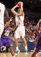 Jan. 2, 2011; Charlottesville, VA, USA; Virginia Cavaliers guard Joe Harris (12) shoots over LSU Tigers guard Aaron Dotson (45) during the game at the John Paul Jones Arena. Virginia won 64-50. Mandatory Credit: Andrew Shurtleff-