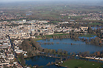 Oxford in  flood . <br /> View towards Christchurch meadow in full flood and central  Oxford .<br />  Thames in flood