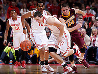 Ohio State Buckeyes guard Aaron Craft (4) steals the ball from Minnesota Golden Gophers forward Joey King (24) during the second half of the NCAA men's basketball game between the Ohio State Buckeyes and the Minnesota Golden Gophers at Value City Arena in Columbus, Ohio, on Saturday, Feb. 22, 2014. The Buckeyes overcame a 10-point deficit at the half to defeat the Minnesota Golden Gophers 64-46. (Columbus Dispatch/Sam Greene)