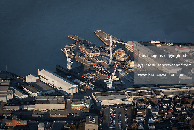 The MIL-Davie Shipbuilding in Levis, is pictured in this aerial photo November 11, 2009. The Quebec facility, located on the St. Lawrence River across from Quebec City, was closed in 1997 and declared bankruptcy in the early 2000, but have been re-activated for a contract to be delivered in 2009.
