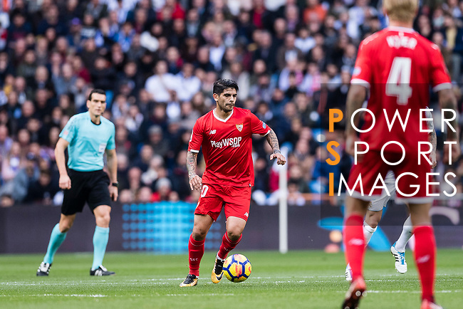 Ever Banega of Sevilla FC in action during the La Liga 2017-18 match between Real Madrid and Sevilla FC at Santiago Bernabeu Stadium on 09 December 2017 in Madrid, Spain. Photo by Diego Souto / Power Sport Images