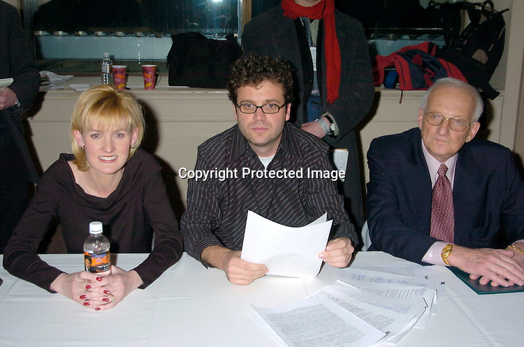 """Carolyn Kepcher, Rob LaPlant and George Ross..at the Auditions for the 2nd season of """"the Apprentice"""" on ..Marvh 18,2 004 at The Trump Building on Wall Street. ..Photo by Robin Platzer, Twin Images"""