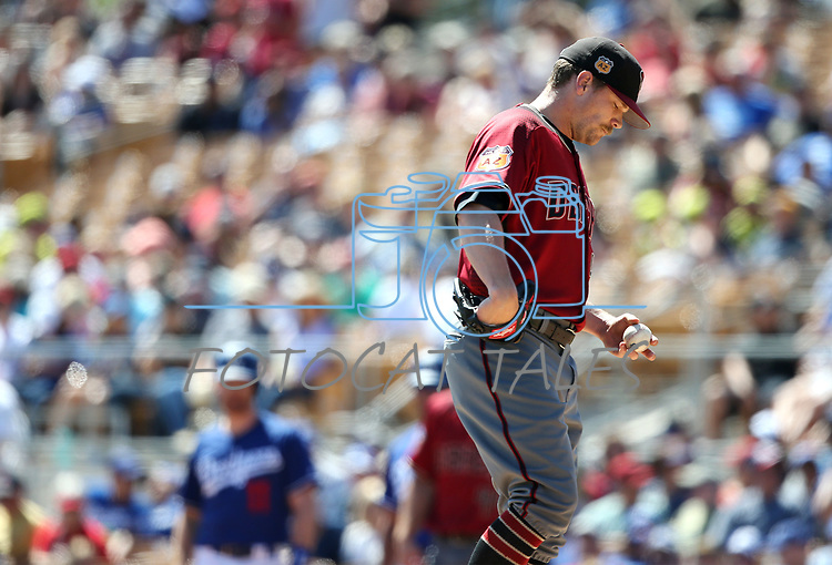 Arizona Diamondbacks' Andrew Chafin pitches against the Los Angeles Dodgers in a spring training game in Glendale, Ariz., on Friday, March 24, 2017.<br /> Photo by Cathleen Allison/Nevada Photo Source