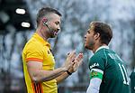 AMSTELVEEN - Jeroen Hertzberger (R'dam) met scheidsrechter Frank Heijster,   tijdens de hoofdklasse competitiewedstrijd heren, AMSTERDAM-ROTTERDAM (2-2). . COPYRIGHT KOEN SUYK