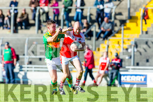 Daniel Daly South Kerry in action against Paul Devane Dingle in the Quarter Finals of the Kerry County Football Championship at Austin Stack Park on Saturday.