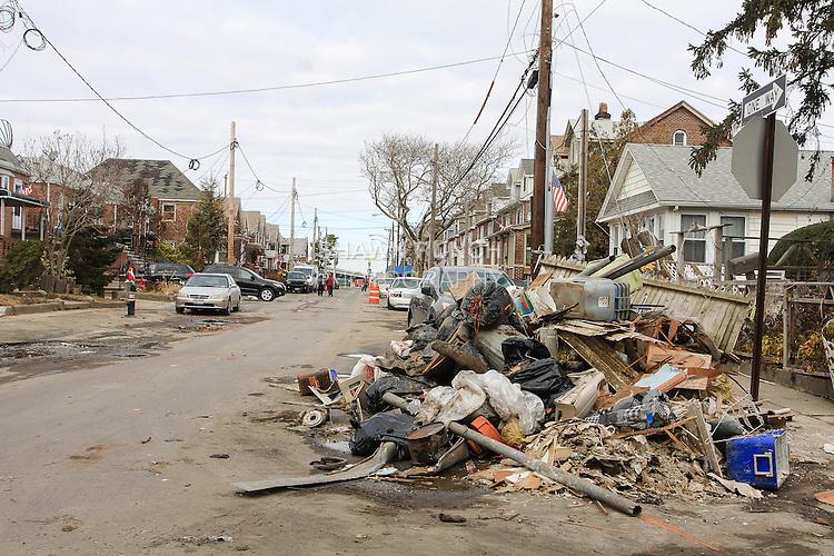 Image of damage caused by Superstorm Sandy in Rockaway, Queens in New York City. Taken November 14, 2013.