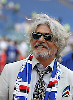 Calcio, Serie A: Roma vs Sampdoria. Roma, stadio Olimpico, 11 settembre 2016.<br /> Sampdoria's president Massimo Ferrero waits for the start of the Italian Serie A football match between Roma and Sampdoria at Rome's Olympic stadium, 11 September 2016. Roma won 3-2.<br /> UPDATE IMAGES PRESS/Isabella Bonotto