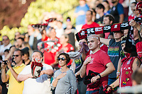 Seattle, WA - Saturday, July 1, 2017:  Portland Thorns FC  fans during a regular season National Women's Soccer League (NWSL) match between the Seattle Reign FC and the Portland Thorns FC at Memorial Stadium.
