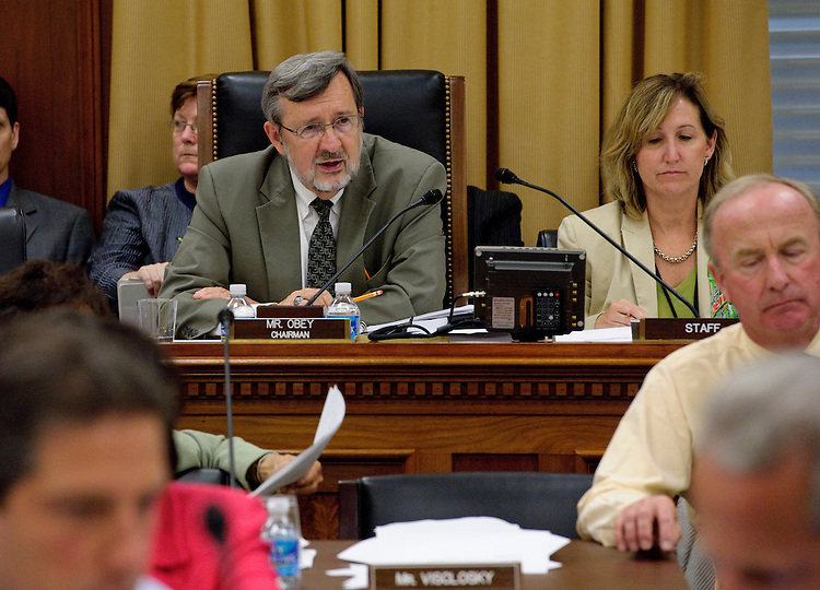 WASHINGTON, DC - July 20: Chairman David R. Obey, D-Wis., during the House Appropriations markup of legislation dealing with fiscal 2011 subcommittee allocations under section 302(b)s of the budget act, appropriations for the Department of Transportation and the Department of Housing and Urban Development, and appropriations for the Department of Veterans Affairs and military construction projects. (Photo by Scott J. Ferrell/Congressional Quarterly)