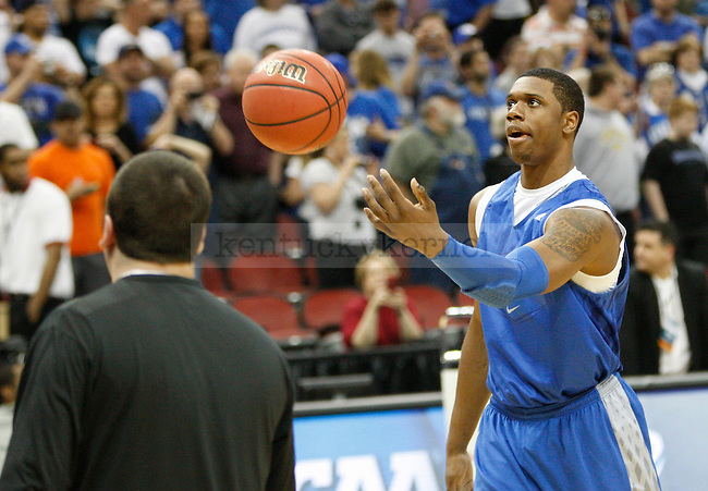 UK sophomore guard Terrence Jones shoots during UK's practice at the KFC Yum! Center March 14, 2012. Photo by Brandon Goodwin   Staff