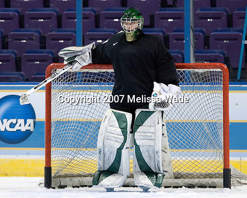 Aaron Walski (University of North Dakota - Fargo, ND) takes part in the Fighting Sioux Wednesday practice on April 4, 2007 at the Scottrade Center in St. Louis, Missouri, prior to their Thursday 2007 Frozen Four Semi-Final.