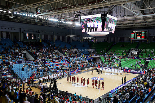 Two team group line-up,<br /> OCTOBER 1, 2015 - Basketball :<br /> Players line up for the national anthems before the 2015 FIBA Asia Championship for Men Quarterfinal match between Japan 81-67 Qatar at Changsha Social Work College's Gymnasium in Changsha, China. (Photo by Yoshio Kato/AFLO)