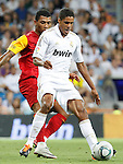 Real Madrid's Raphael Varane (f) and Galatasaray's Kazim-Richards during Santiago Bernabeu Trophy.August 24,2011. (ALTERPHOTOS/Acero)