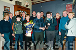 Presentation : Mike Hickey on behalf of Kilflynn Coursing Club making a presentation to Timmy Dillon, Leim, Kilflynn on winning the Kerry Garda & Lee Strand Youth achievement Award 2017 at Herberts Bar, Kildlynn on Friday night last.