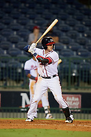 Mississippi Braves center fielder Michael Reed (28) at bat during a game against the Mobile BayBears on May 7, 2018 at Trustmark park in Pearl, Mississippi.  Mobile defeated Mississippi 5-0.  (Mike Janes/Four Seam Images)