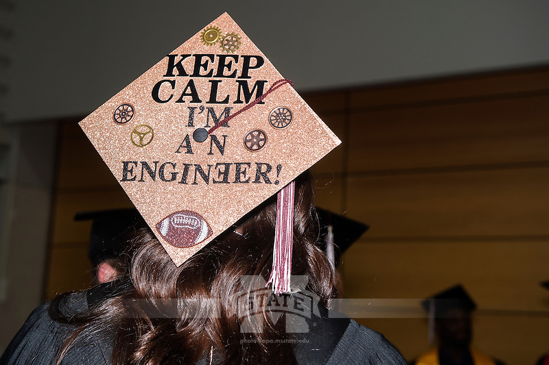 Decorated graduation caps.<br />  (photo by Beth Wynn / &copy; Mississippi State University)