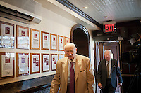 Former NY Mayor Edward I. Koch arrives for lunch at Peter Luger Steak House in Williamsburg, Brooklyn in New York on Tuesday, July 17, 2012. The classic American steakhouse, which is a family run business which originally opened in 1887, has recently been voted the best steakhouse in the United States by a panel of chefs and food critics put together by the USA Today newspaper. (© Richard B. Levine)