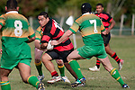 Arron Manga breaks through the drury defensive line. Counties Manukau Premier Club Rugby Game of the Week between Drury & Papakura, played at Drury Domain on Saturday Aprill 11th, 2009..Drury won 35 - 3 after leading 15 - 5 at halftime.