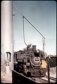 D&amp;RGW #493 K-37 taking on sand at Durango sand tower.<br /> D&amp;RGW  Alamosa, CO  after 1960