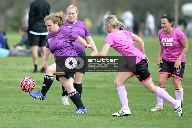 NELSON, NEW ZEALAND - OCTOBER 2: Football at Saxton during the NZCT 2015 South Island Masters Games, October 2, 2015 in Nelson, New Zealand. (Photo by Barry Whitnall/Shuttersport Limited)