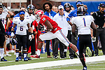 Southern Methodist Mustangs wide receiver Courtland Sutton (16) in action during the game between the Tulsa Golden Hurricanes and the SMU Mustangs at the Gerald J. Ford Stadium in Dallas, Texas.