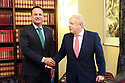 BELFAST, Jan. 13, 2020  British Prime Minister Boris Johnson and Taoiseach (Irish prime minister) Leo Varadkar meet at Parliament Buildings at Stormont, Belfast, Northern Ireland on Jan 13, 2020.