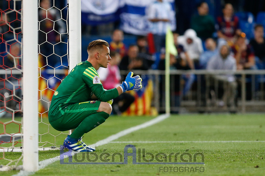 FC Barcelona´s goalkeeper Ter Steger during the Final of Copa del Rey match between FC Barcelona and SevillaFC at the Vicente Calderon Stadium in Madrid, Sunday, May 22, 2016.