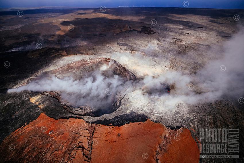 Flying over Pu'u 'O'o Crater, Kilauea Volcano, Hawai'i Island.