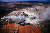 Flying over Pu'u 'O'o Crater, Kilauea Volcano, Hawai'i Island.