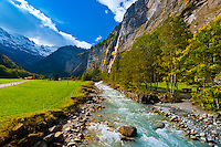 Stream and waterfall, Lauterbrunnen Valley, Canton Bern, Switzerland