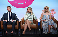 2019 FOX SUMMER TCA: BH90210 cast members Ian Ziering,Jennie Garth,and Tori Spelling during the BH90210 panel at the 2019 FOX SUMMER TCA at the Beverly Hilton Hotel, Wednesday, Aug. 7 in Beverly Hills, CA. CR: Frank Micelotta/FOX/PictureGroup